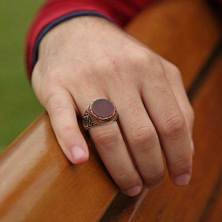 925 Ayar Gümüş Akik Taşlı Oval Yüzük - Thumbnail