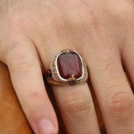 925 Ayar Gümüş Akik Taşlı Özel Tasarım Yüzük - Thumbnail