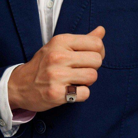 925 Ayar Gümüş Akik Taşlı Tuğra Model Yüzük - Thumbnail