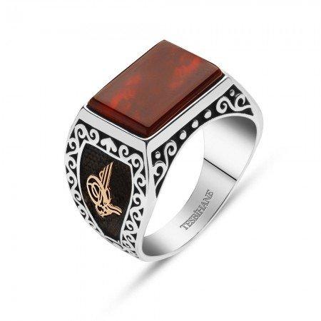 925 Ayar Gümüş Akik Taşlı Tuğralı ve Armalı Yüzük - Thumbnail