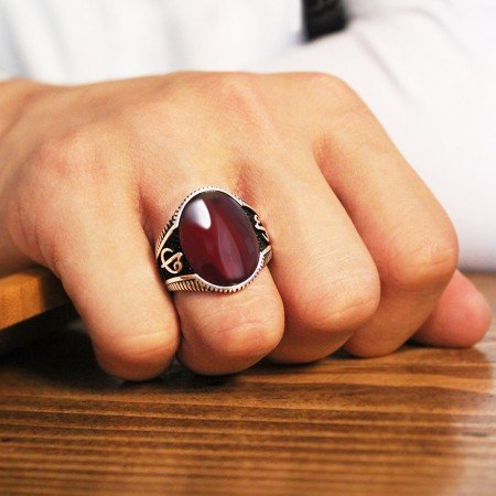 Elif Vav İşlemeli Kırmızı Bombeli Akik Taşlı 925 Ayar Gümüş Erkek Yüzük - Thumbnail