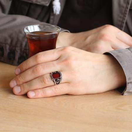 Elif Vav İşlemeli Kırmızı Akik Taşlı 925 Ayar Gümüş Erkek Yüzük - Thumbnail