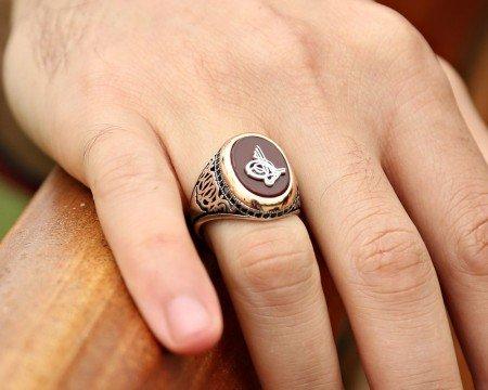 925 Ayar Gümüş Akik Taşlı ve Etrafı Zirkon Taşlı Tuğra Yüzük - Thumbnail