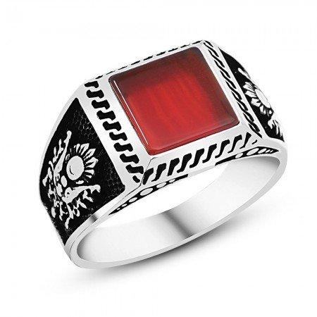 Osmanlı Devlet Armalı Kırmızı Akik Taşlı 925 Ayar Gümüş Erkek Yüzük - Thumbnail