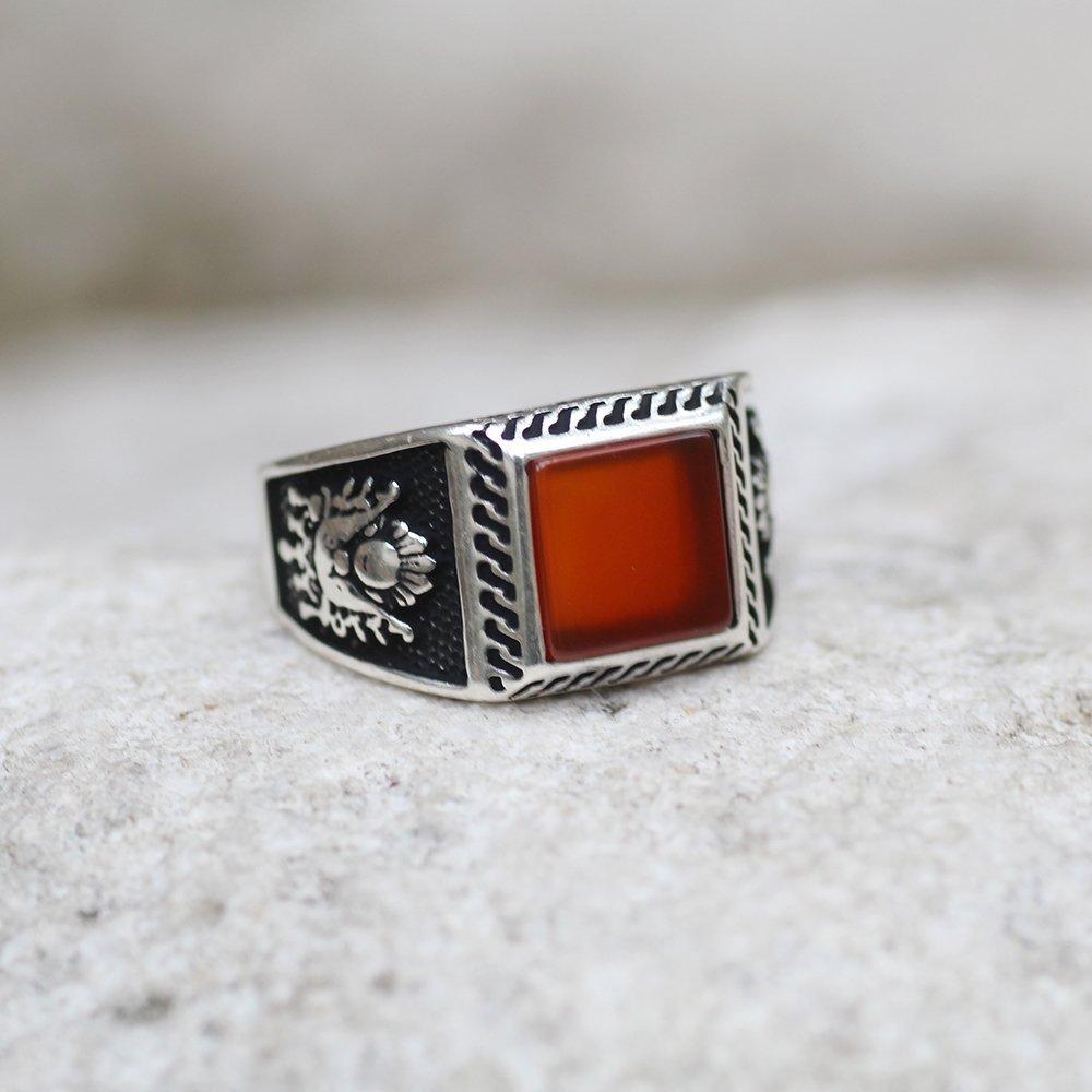Osmanlı Devlet Armalı Kırmızı Akik Taşlı 925 Ayar Gümüş Erkek Yüzük