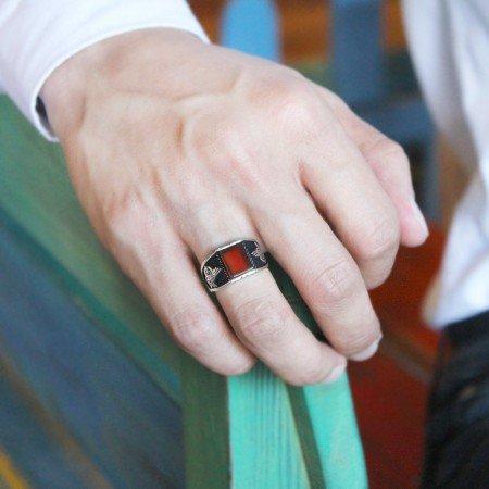 Tuğra İşlemeli Açık Kırmızı Akik Taşlı 925 Ayar Gümüş Erkek Yüzük - Thumbnail