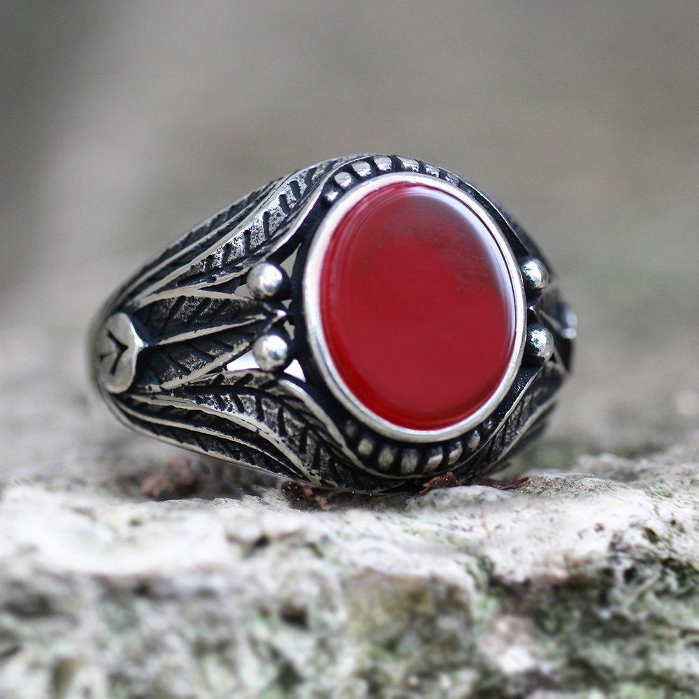 Yaprak İşlemeli Kırmızı Akik Taşlı 925 Ayar Gümüş Erkek Yüzük