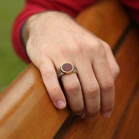 925 Ayar Gümüş Akik Taşlı Yüzük - Thumbnail