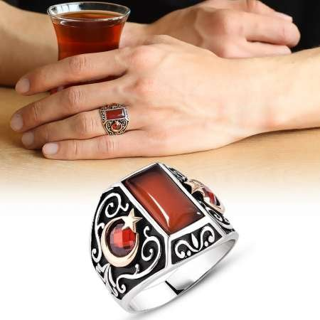 Ayyıldız İşlemeli Kırmızı Akik Taşlı 925 Ayar Gümüş Erkek Yüzük - Thumbnail