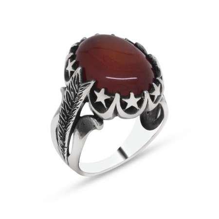 Ayyıldız İşlemeli Kırmızı Bombeli Akik Taşlı 925 Ayar Gümüş Erkek Yüzük - Thumbnail