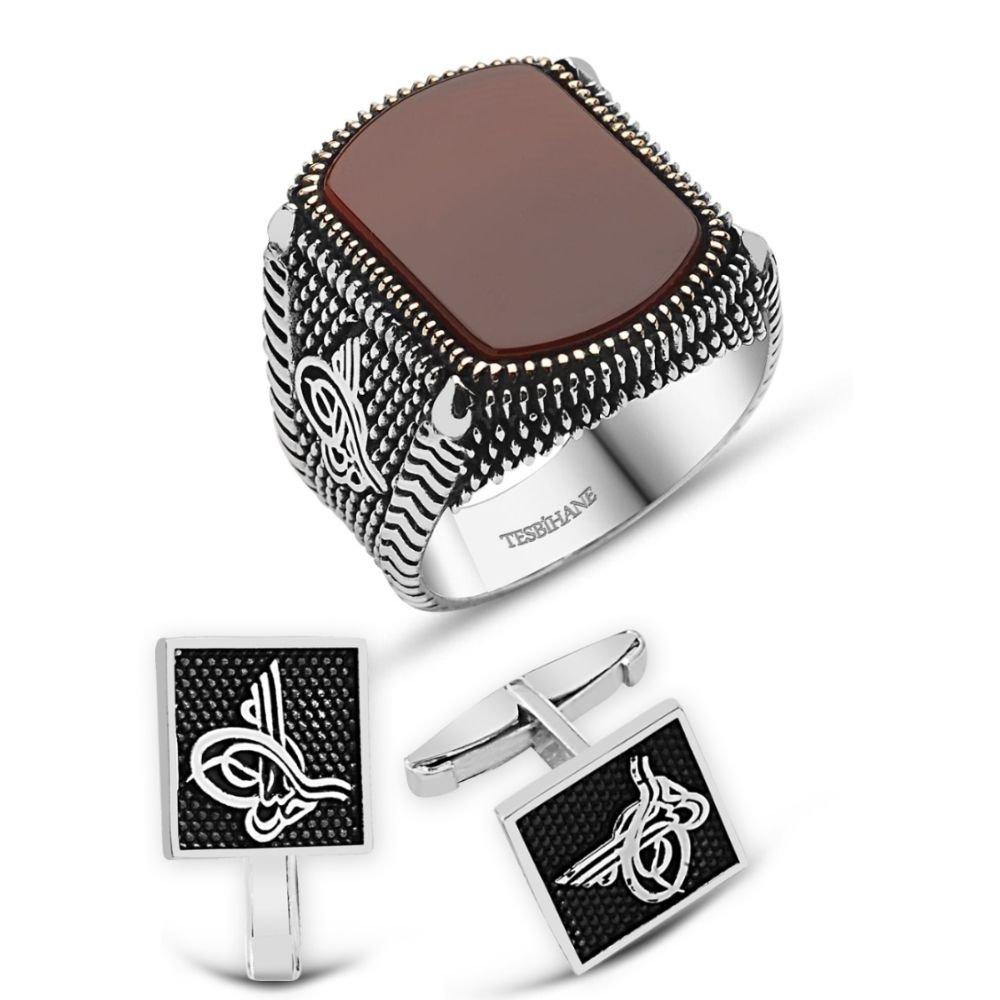 925 Ayar Gümüş Akik Taşlı Yüzük Ve Tuğralı Kol Düğme Kombini
