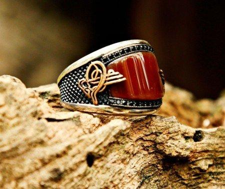 925 Ayar Gümüş Akik ve Zirkon Taşlı Tuğralı Yüzük - Thumbnail