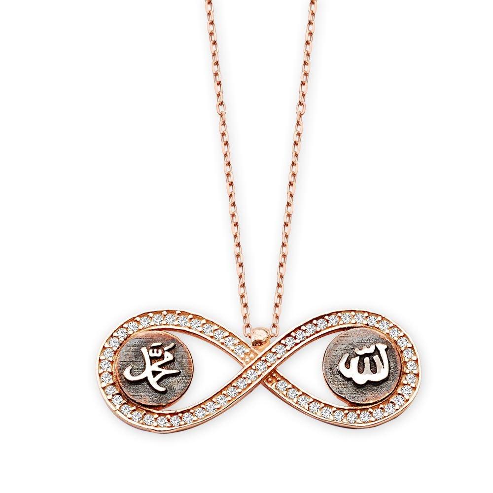 925 Ayar Gümüş Allah Muhammed Yazılı Sonsuzluk Kolyesi