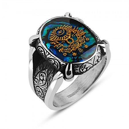 925 Ayar Gümüş Altın Varaklı Osmanlı Armalı Yüzük - Thumbnail