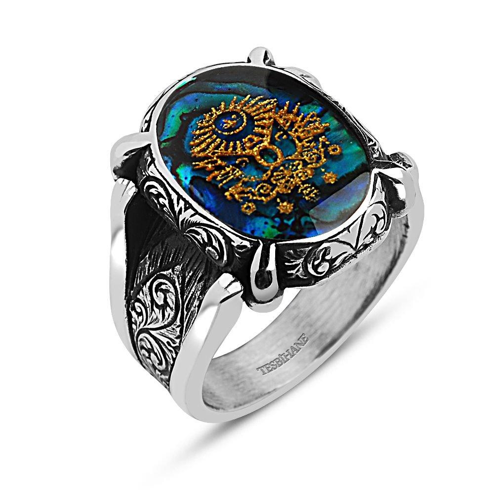 925 Ayar Gümüş Altın Varaklı Osmanlı Armalı Yüzük