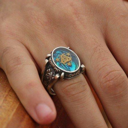 925 Ayar Gümüş Altın Varaklı Teşkilat-ı Mahsusa Yüzük - Thumbnail