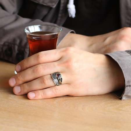 Tuğra ve Arma İşlemeli Anadolu Kartalı 925 Ayar Gümüş Erkek Yüzük - Thumbnail
