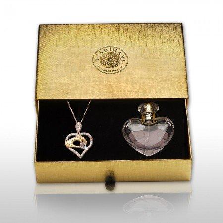 925 Ayar Gümüş Anne ve Bebek Eli Tasarımlı Kolye ve Parfüm Kombini - Thumbnail