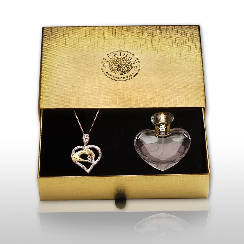 925 Ayar Gümüş Anne ve Bebek Eli Tasarımlı Kolye ve Parfüm Kombini