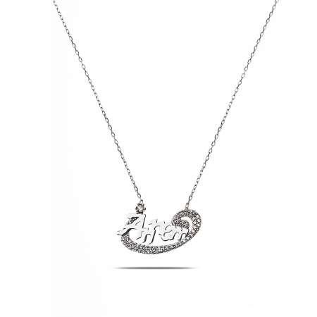 Annem Yazılı 925 Ayar Gümüş Bayan Kolye - Thumbnail