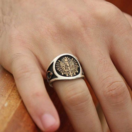 925 Ayar Gümüş Arma Ayyıldız Model Yüzük - Thumbnail