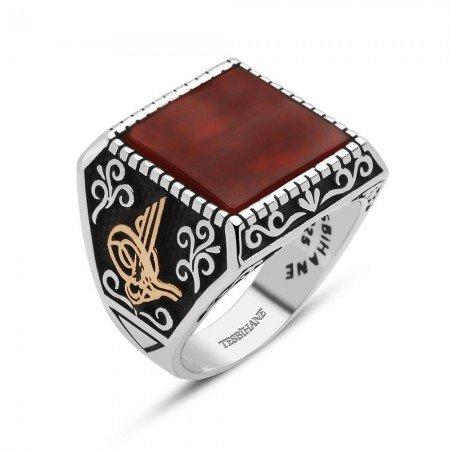 925 Ayar Gümüş Arma ve Tuğralı Akik TaşlıYüzük - Thumbnail