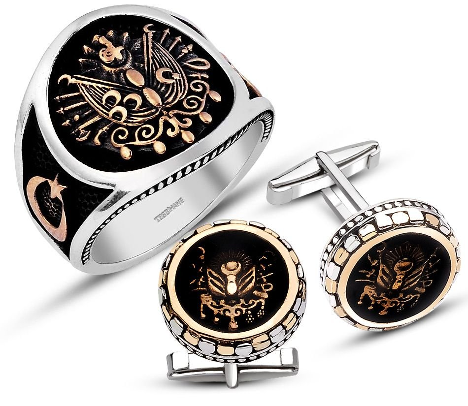 925 Ayar Gümüş Armalı Yüzük Kol Düğmesi Kombini