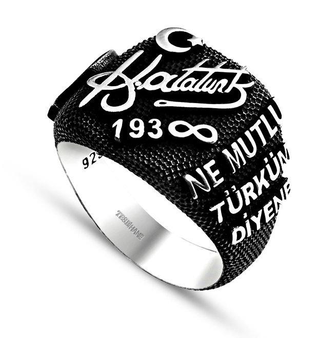 925 Ayar Gümüş Atatürk İmzalı-Yazılı Yüzük