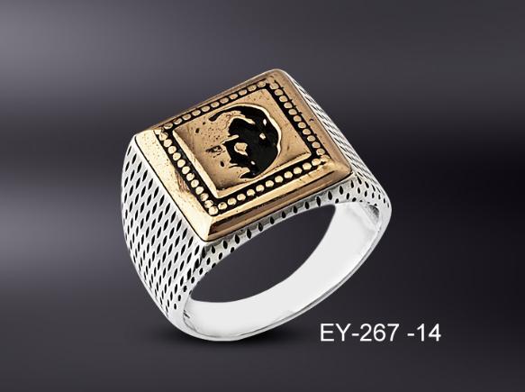 925 Ayar Gümüş Atatürk İşlemeli Kare Yüzük