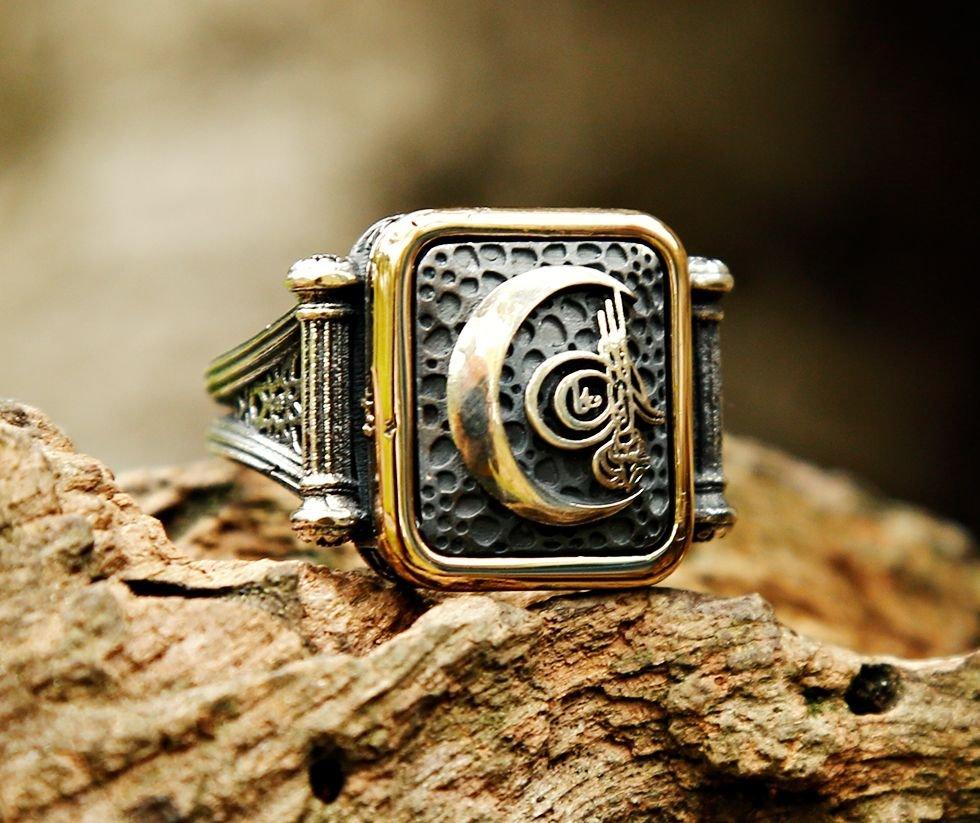 925 Ayar Gümüş Ay İçerisinde Tuğra Tasarım Yüzük