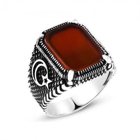Ayyıldız İşlemeli Kırmızı Dörtgen Akik Taşlı 925 Ayar Gümüş Erkek Yüzük - Thumbnail