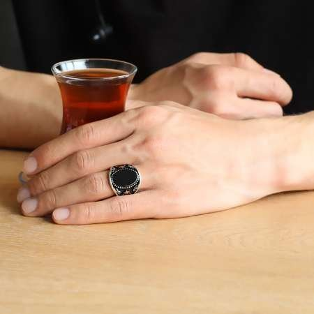 Ayyıldız İşlemeli Siyah Oval Oniks Taşlı 925 Ayar Gümüş Erkek Yüzük - Thumbnail