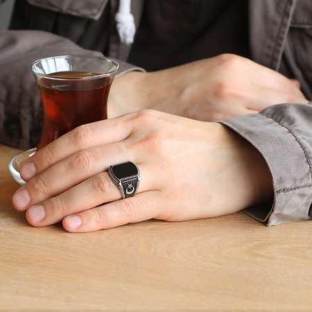 Nokta İşlemeli Ayyıldız Motifli Siyah Oniks Taşlı 925 Ayar Gümüş Erkek Yüzük - Thumbnail