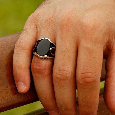 925 Ayar Gümüş Ay Yıldız Detaylı Oniks Taşlı Yüzük (Model-3) - Thumbnail