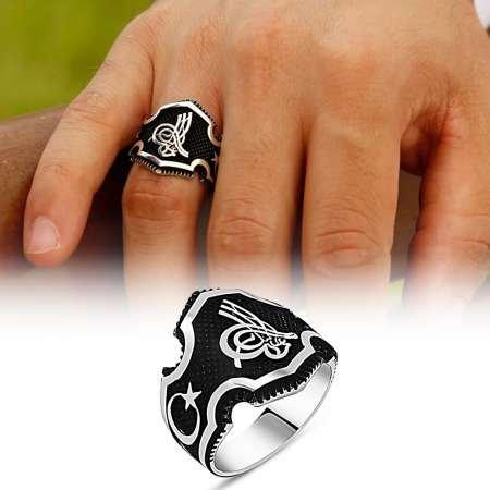 Ayyıldız İşlemeli Tuğra Motifli 925 Ayar Gümüş Erkek Yüzük - Thumbnail