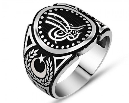 925 Ayar Gümüş Ay Yıldız Detaylı Tuğra İşlemeli Yüzük - Thumbnail