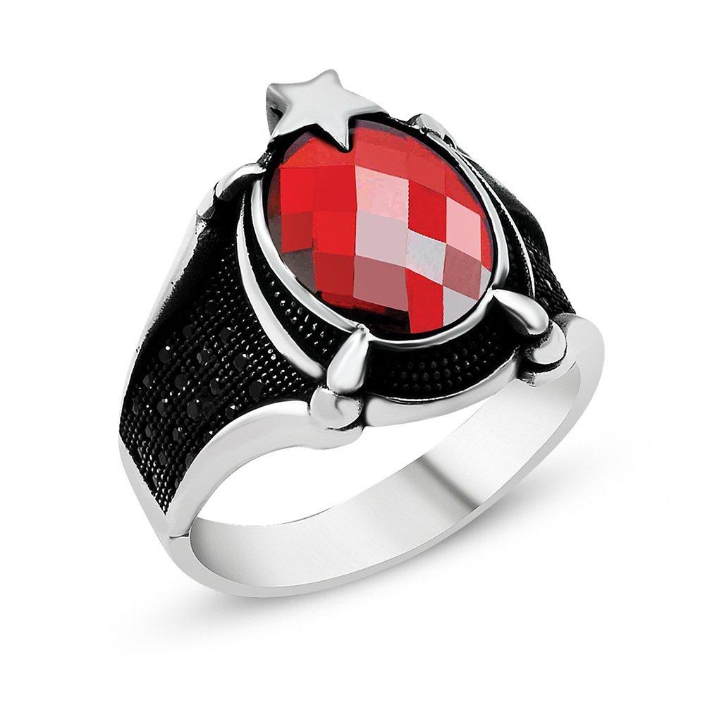 Ayyıldız Motifli Pençe Tasarım Kırmızı Zirkon Taşlı 925 Ayar Gümüş Erkek Yüzük