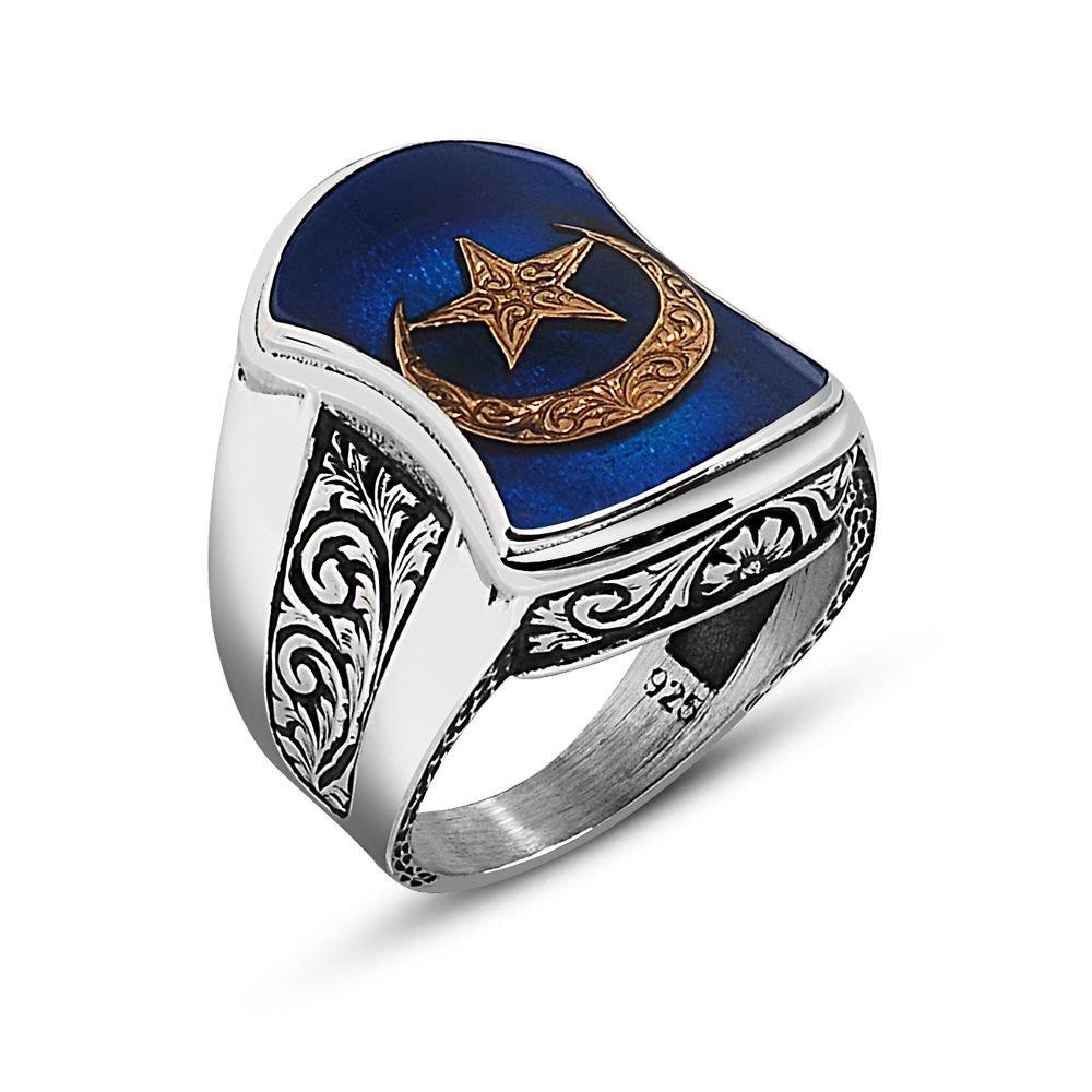 925 Ayar Gümüş Ay Yıldız Tasarım Aheng Yüzük