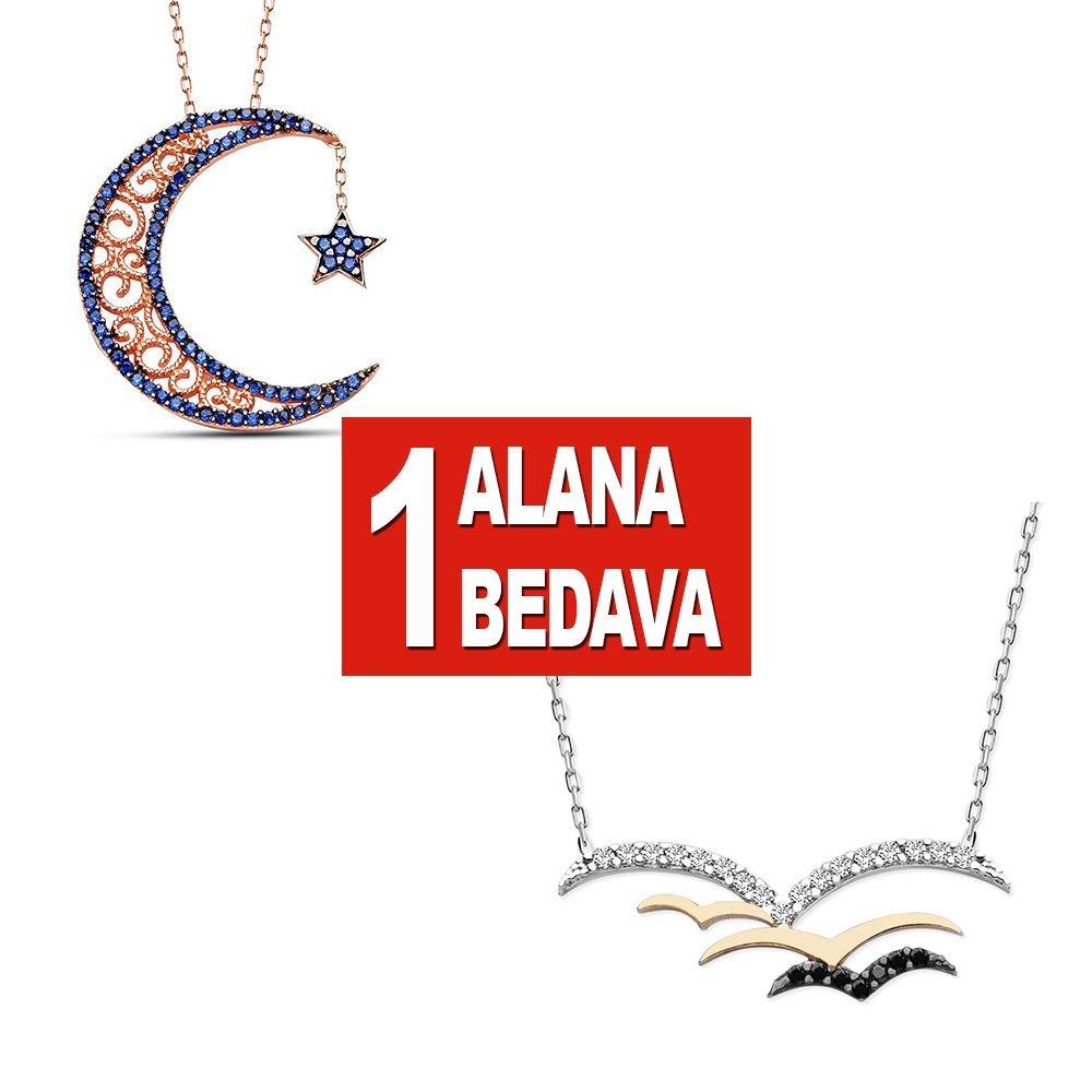 925 Ayar Gümüş Ay Yıldız ve Kuşlar Kolye