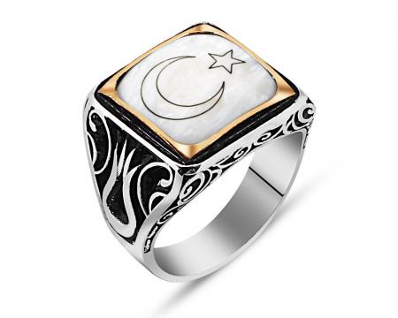 925 Ayar Gümüş Ay Yıldız Yüzük - Thumbnail