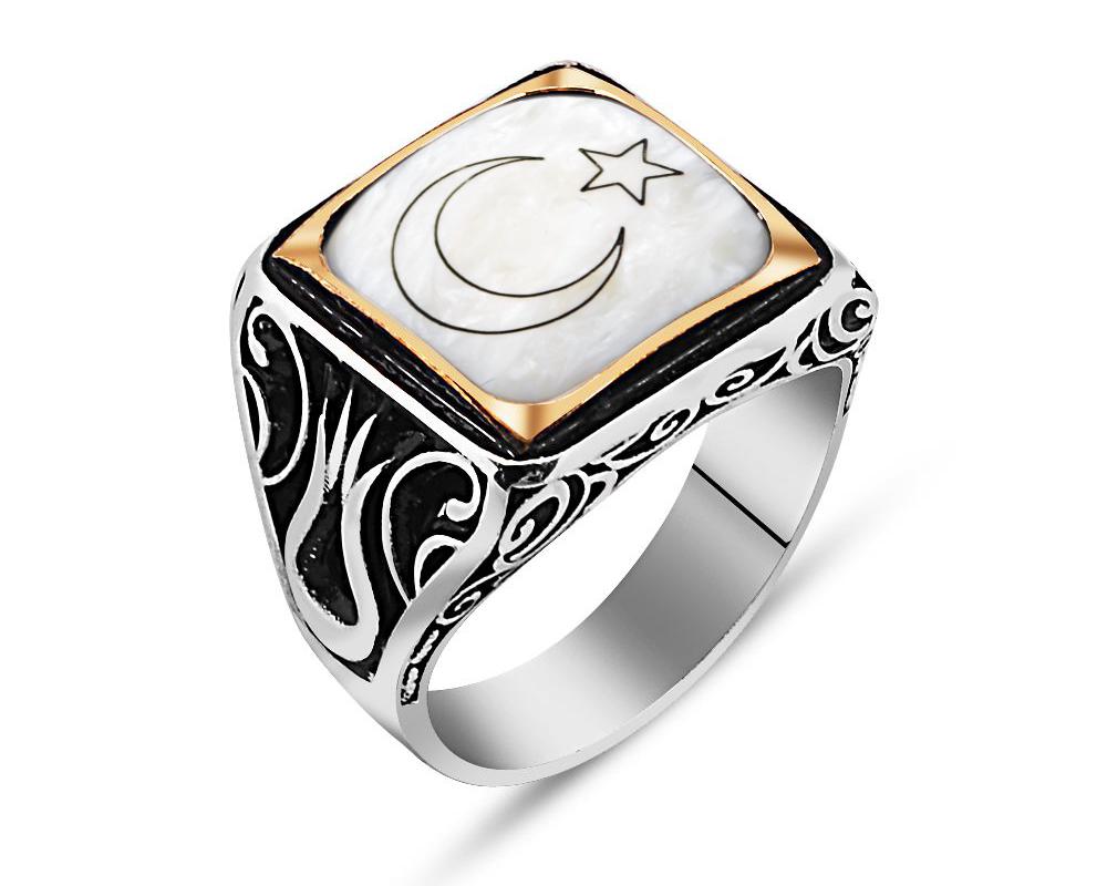 925 Ayar Gümüş Ay Yıldız Yüzük