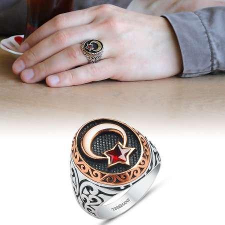 Kırmızı Zirkon Taşlı Ayyıldız Motifli 925 Ayar Gümüş Erkek Yüzük - Thumbnail