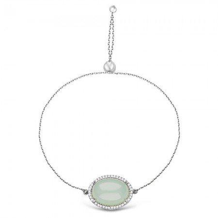 925 Ayar Gümüş Ayarlanabilen Açık Yeşil Hidro Taşlı Bileklik - Thumbnail