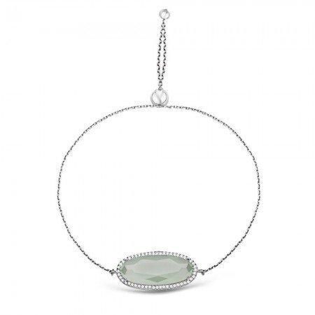 925 Ayar Gümüş Ayarlanabilen Hidro Açık Yeşik Renk Oval Model Taş Bileklik - Thumbnail