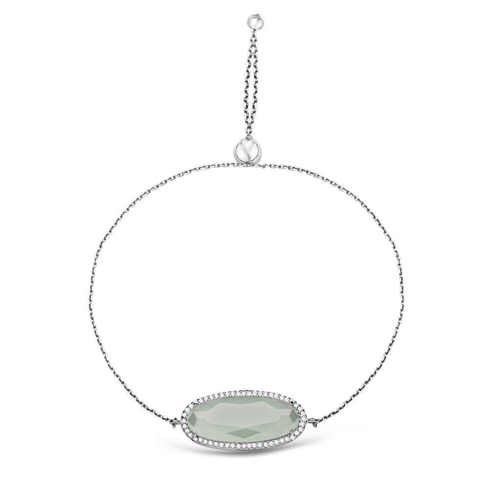 925 Ayar Gümüş Ayarlanabilen Hidro Açık Yeşik Renk Oval Model Taş Bileklik