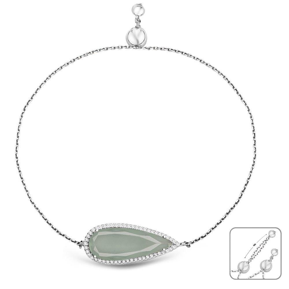 925 Ayar Gümüş Ayarlanabilen Hidro Açık Yeşil Damla Model Taş Bileklik