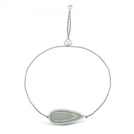 925 Ayar Gümüş Ayarlanabilen Hidro Açık Yeşil Damla Model Taş Bileklik - Thumbnail