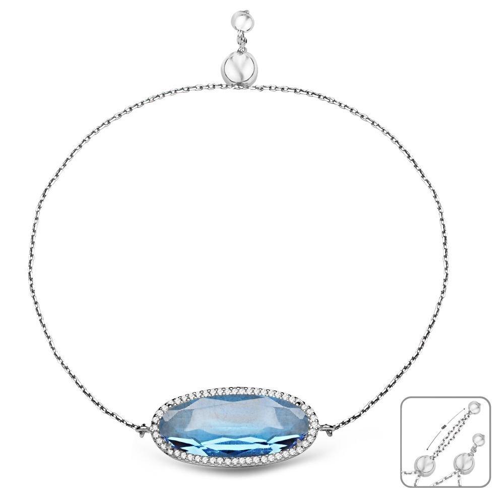 925 Ayar Gümüş Ayarlanabilen Hidro Aqua Mavi Renk Oval Model Taş Bileklik