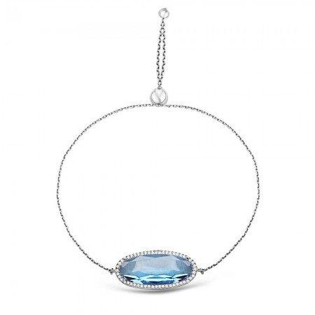 925 Ayar Gümüş Ayarlanabilen Hidro Aqua Mavi Renk Oval Model Taş Bileklik - Thumbnail