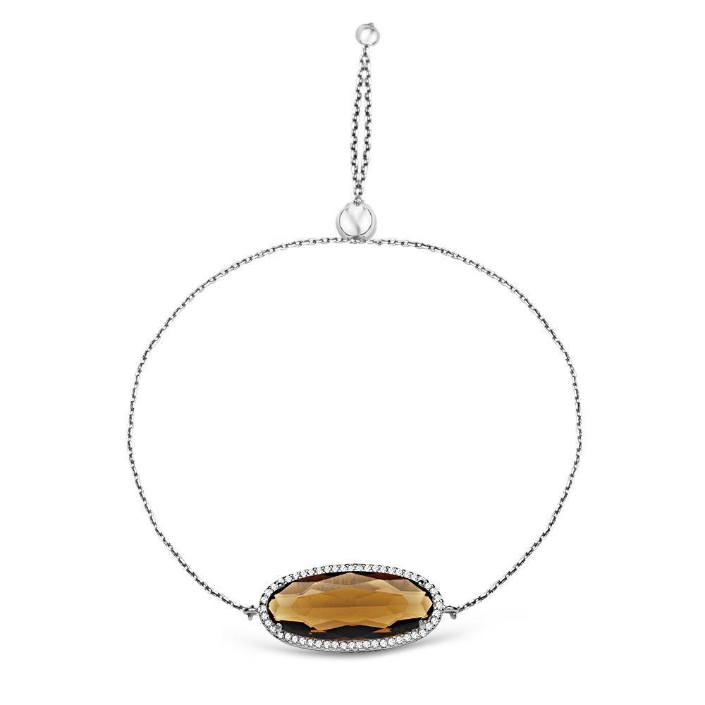 925 Ayar Gümüş Ayarlanabilen Hidro Çay Renkli Oval Model Taş Bileklik